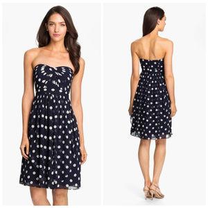 JENNY YOO Navy Strapless Polka Dot Chiffon Dress